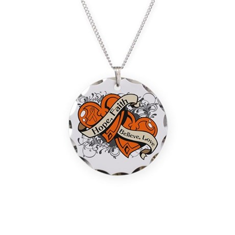 Leukemia Hope Faith Dual Hearts Necklace Circle Ch