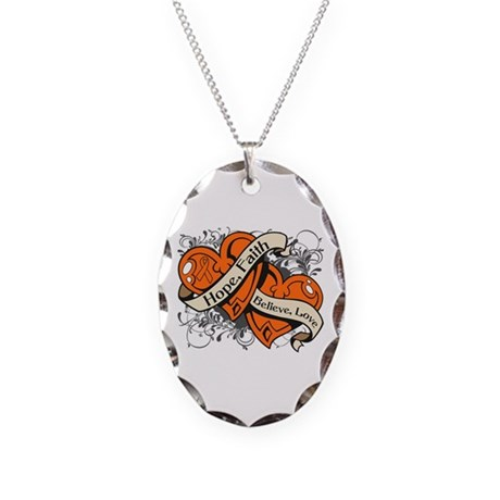 Leukemia Hope Faith Dual Hearts Necklace Oval Char