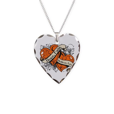 Leukemia Hope Faith Dual Hearts Necklace Heart Cha