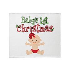 1st Christmas Baby Girl Throw Blanket