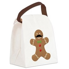 Gingerbread Mustache Man Canvas Lunch Bag