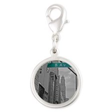 New York, 5th ave Silver Round Charm