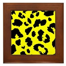 Yellow Animal Print Framed Tile