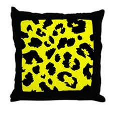 Yellow Animal Print Throw Pillow