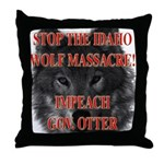Stop the wolf massacre Throw Pillow