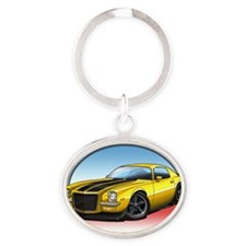 Yellow_72_Camaro Oval Keychain