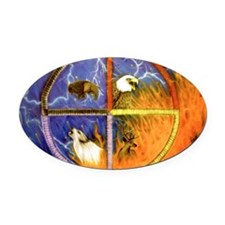 Medicine Wheel Oval Car Magnet
