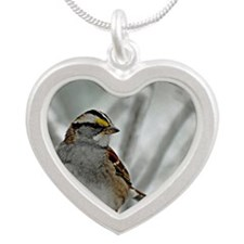 Snowy White-throated sparrow Silver Heart Necklace