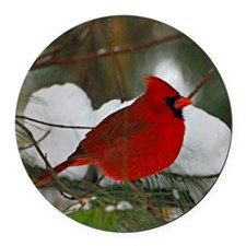 another Christmas Cardinal Round Car Magnet