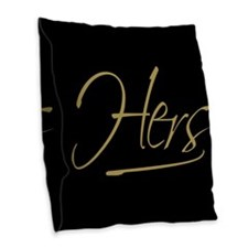 His & Hers (Black & Gold) Burlap Throw Pillow