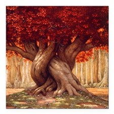 "The Enchanted Tree Square Car Magnet 3"" x 3"""