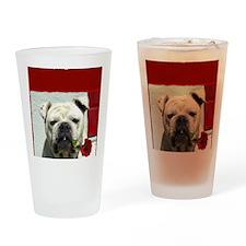 I Love you bulldog card Drinking Glass