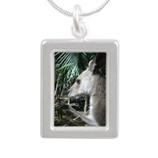 Australia wallaby Silver Portrait Necklace