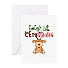 1st Christmas Baby Reindeer Greeting Card