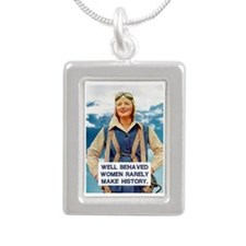 Well Behaved Women Silver Portrait Necklace