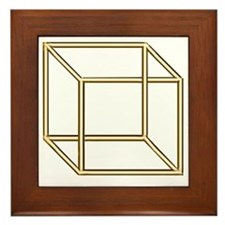 Necker cube Framed Tile