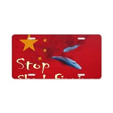 shark-finning-t-shirt2 Aluminum License Plate