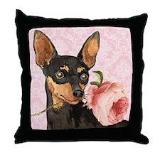 Min Pin Rose Throw Pillow