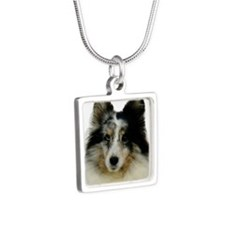 Blue Merle Sheltie Named S Silver Square Necklace