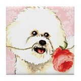 Bichon Rose Tile Coaster