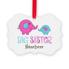 Personalized Big Sister Elephant Picture Ornament