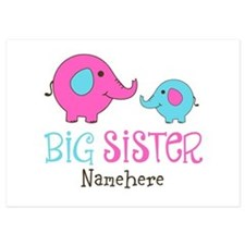 Personalized Big Sister Elephant 5x7 Flat Cards