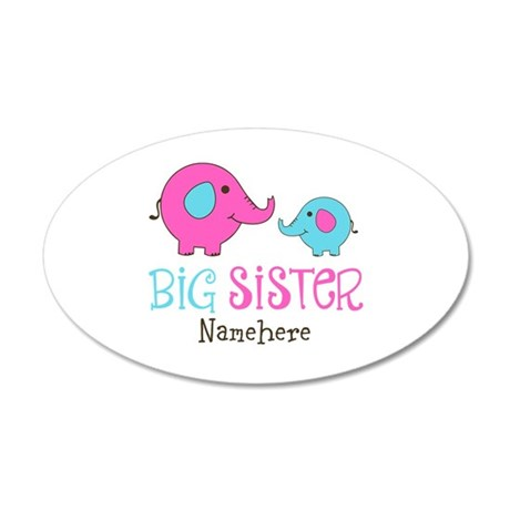 Personalized Big Sister Elephant 35x21 Oval Wall D