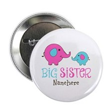 "Personalized Big Sister Elephant 2.25"" Button (100"