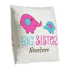 Personalized Big Sister Elephant Burlap Throw Pill