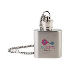 Personalized Big Sister Elephant Flask Necklace
