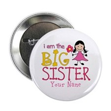 "Stick Figure Flower Big Sister 2.25"" Button (10 pa"