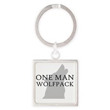ONE MAN PACK WHITE Square Keychain