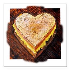"I Love Grilled Cheese Square Car Magnet 3"" x 3"""