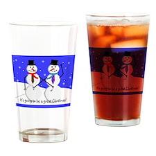 Gay Men Snowmen 2 Drinking Glass