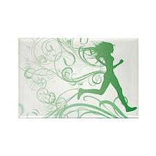 green_runner_girl Rectangle Magnet