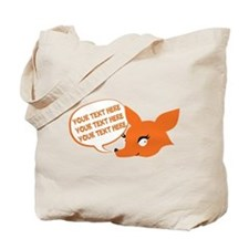 CUSTOM TEXT Cute Fox Tote Bag