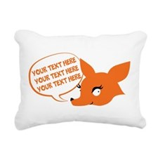 CUSTOM TEXT Cute Fox Rectangular Canvas Pillow