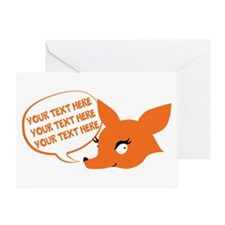 CUSTOM TEXT Cute Fox Greeting Cards