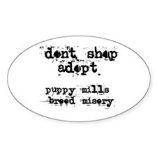 Don't Shop, Adopt - Oval Decal