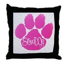 Pink Paws Throw Pillow