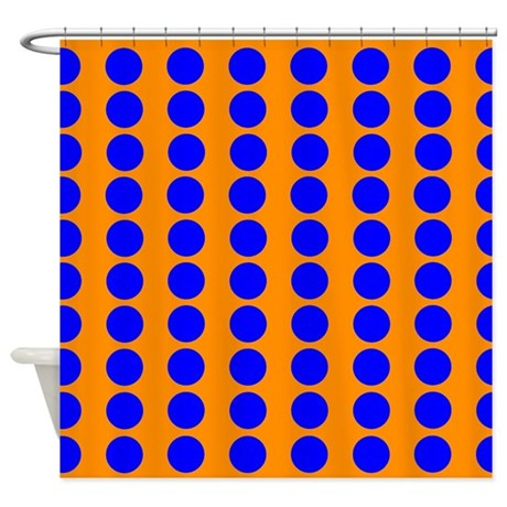Orange And Blue Polka Dot Pattern Shower Curtain By VeryCute