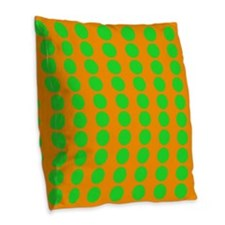 Orange And Green Polka Dot Pattern Burlap Throw Pi