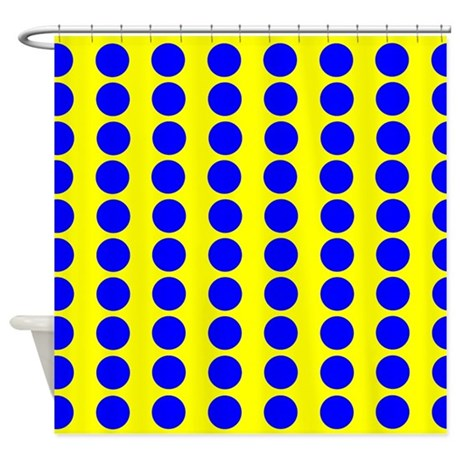 Yellow And Blue Polka Dot Pattern Shower Curtain By Verycute