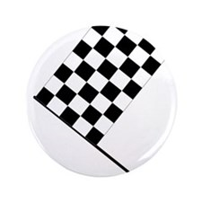 "Racing Checkered Flag 3.5"" Button"