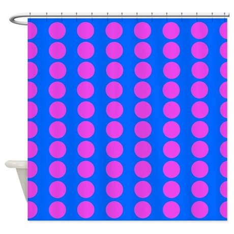 Blue And Pink Polka Dot Pattern Shower Curtain By VeryCute