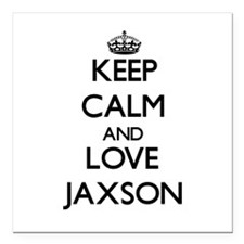 "Keep Calm and Love Jaxson Square Car Magnet 3"" x 3"
