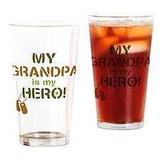 Dog Tag Hero Grandpa Drinking Glass