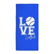 Love Softball, Royal Blue Beach Towel