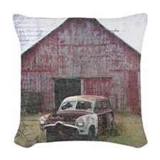 Old Abandoned Car in Front of  Woven Throw Pillow