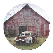 Old Abandoned Car in Front of Bar Round Car Magnet